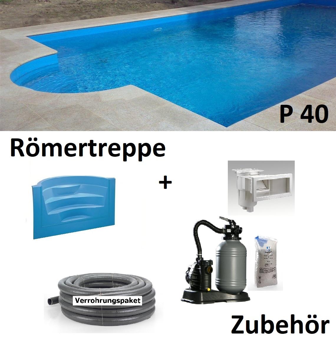 Pool Komplettset 4x8x1,50 m 0,8 mm Folie Styropor Becken  P40 Swimmingpool