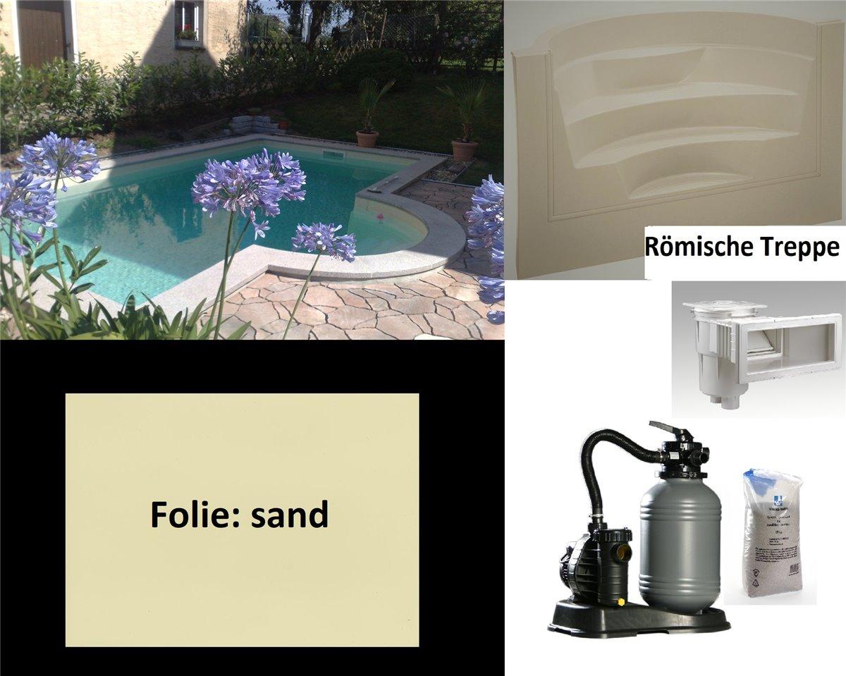 Set Pool oval 4x8x1,50m Becken 0,8 Folie Stahlwand
